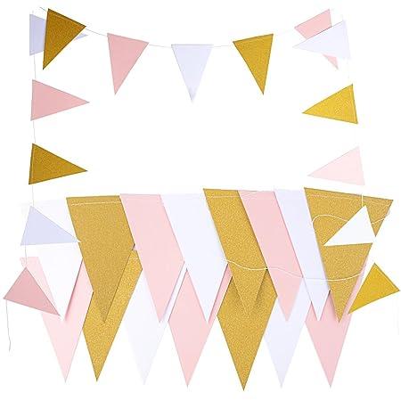 5M 30pcs Banderas Guirnaldas Papel Triángulo Rosa Blanco Dorado Multicolor para Decoración Colgante de Fiesta Boda Cumpleaños Hogar Arbol (2 cadena * ...