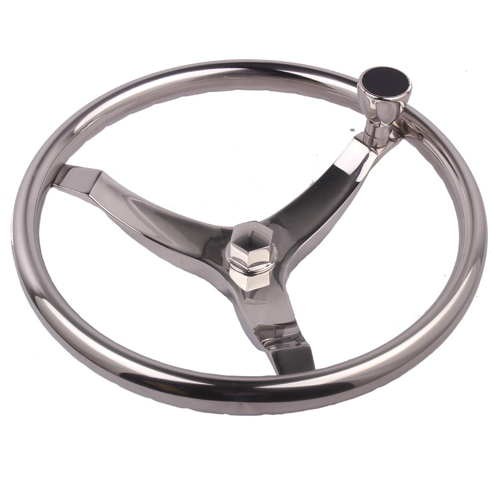 HOFFEN 13-1/2'' Dia Cast Stainless Steering Wheel With Turning Knob And 5/8'' -18 Nut,fit for 3/4'' Tapered Shaft Helms Suit For Seastar & Verado