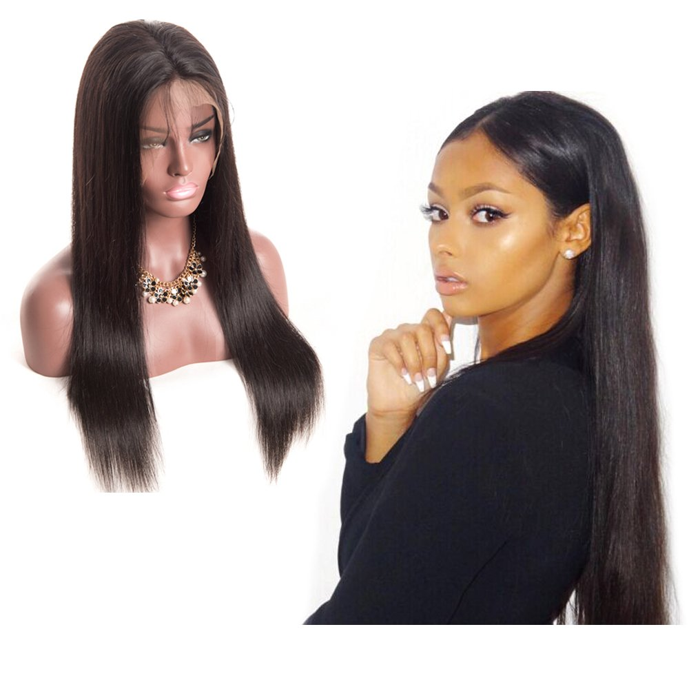 H&N Hair Brazilian Virgin Hair Full Lace Wigs Straight Human Hair Wigs with Baby Hair 130% Density For Black Women Natural Color (14inch)
