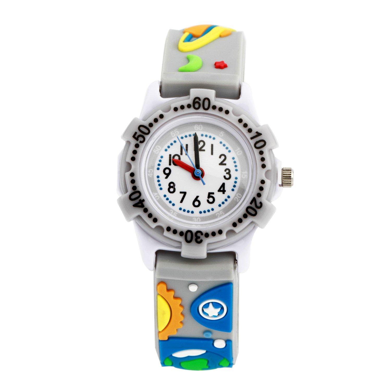 ELEOPTION かわいいイラスト入りクォーツ腕時計 3D シリコンバンド付き 時間を教えるのに最適 小さな女の子/男の子/お子様への贈り物に B076BQ79V1 Universe SecretGrey Universe SecretGrey