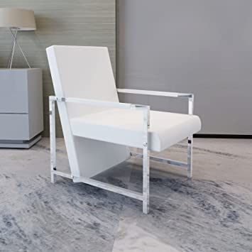 Excellent Tidyard Artificial Leather Cube Relax Armchair With Chrome Feet Living Room Chair White Creativecarmelina Interior Chair Design Creativecarmelinacom