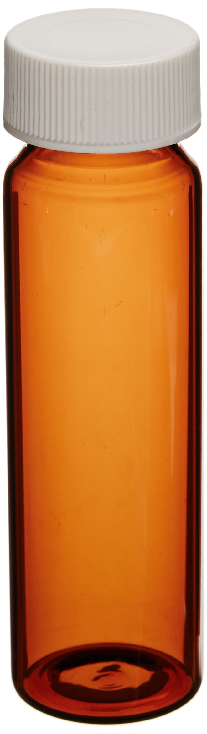 JG Finneran 9A-089 Amber Borosilicate Glass Standard VOA Vial with White Polypropylene Solid Top Closure and PTFE Lined, 24-400mm Cap Size, 40mL Capacity (Pack of 100)