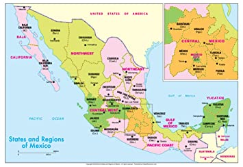 Amazon.com : Michelin Official States and Regions of Mexico Map Art ...
