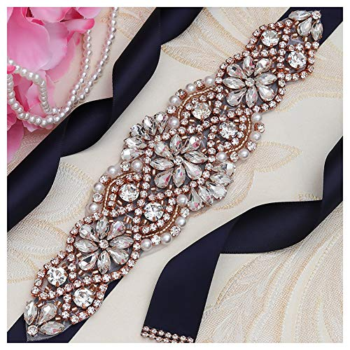 (Yanstar Navy Blue Sash Crystal Applique Wedding Bridal Belts In Rose Gold With Pearls Beaded On Wedding Prom Dress-7.7In2In)