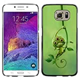 Snap-on Series Plastic Back Case Shell Skin Cover for Samsung Galaxy S6 , ( Green Cute Alien Monster Leaves Mutant )