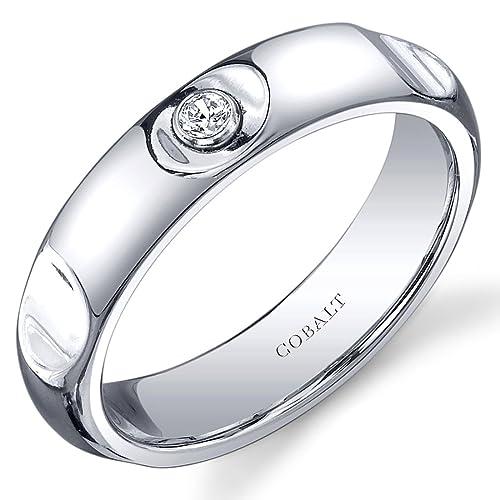 Estilo Revoni soiitaire 5 mm acabado platino cuya cityboard anillo de matrimonio de cobalto