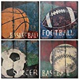 Natural art-Basketball Soccer Football Sports Themed Canvas Wall Art for Boys Room Baby Nursery Wall Decor Basketball Boys Gift