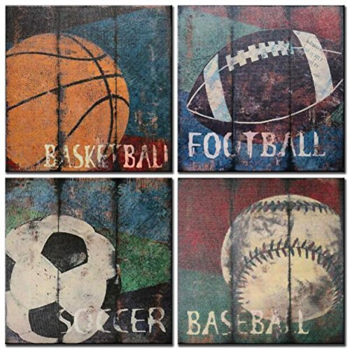 (Natural art Soccer Football Sports Themed Canvas Room Baby Nursery Wall Decor Basketball Boys Gift, 12x12inx4pcs,)