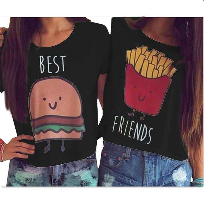21127d3aaf64 MOLFROA 2-Pack Women s Casual Cute Cartoon Best Friend Printed Crop Tops  Funny Tops Tees