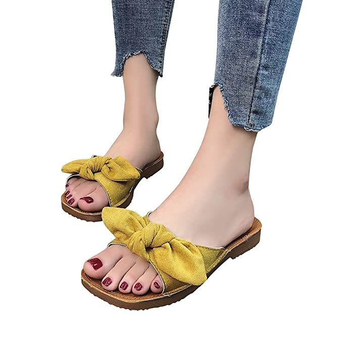 19ba278e5b250 Veodhekai Women Flats Sandals Flip Flops Slipper Butterfly-Knot ...