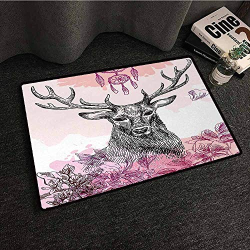 Kitchen Room Floor Mat Rug Colorful Deer,Sketch of Deer with Flowers Leaves and Dream Catcher Tribal Art Boho Style Print,Black Fuchsia,W31 xL47 Outdoor Camping Rugs