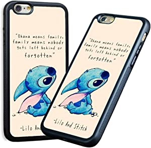 LEALIN iPhone 6s Case,iPhone 6 Case, Lilo and Stitch Antiskid Handle Black TPU Phone Case for iPhone 6s Cover