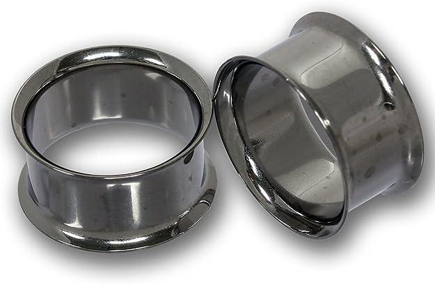 Flesh Tunnel Silber Dünn mit O-Ring Gummiring 316L Chirurgenstahl