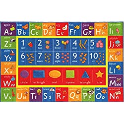 "KC Cubs Kev & Cooper Playtime Collection ABC, Numbers and Shapes Educational Area Rug - 3'3"" x 4'7"""
