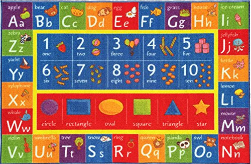 "kc cubs kev & cooper playtime collection abc, numbers and shapes educational area rug - 5'0"" x 6'6"""