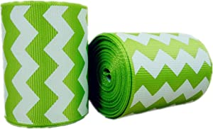 5 Yards/roll 2 Inch Chevron Printed Apple Green Grosgrain Ribbons Hairbows 50MM