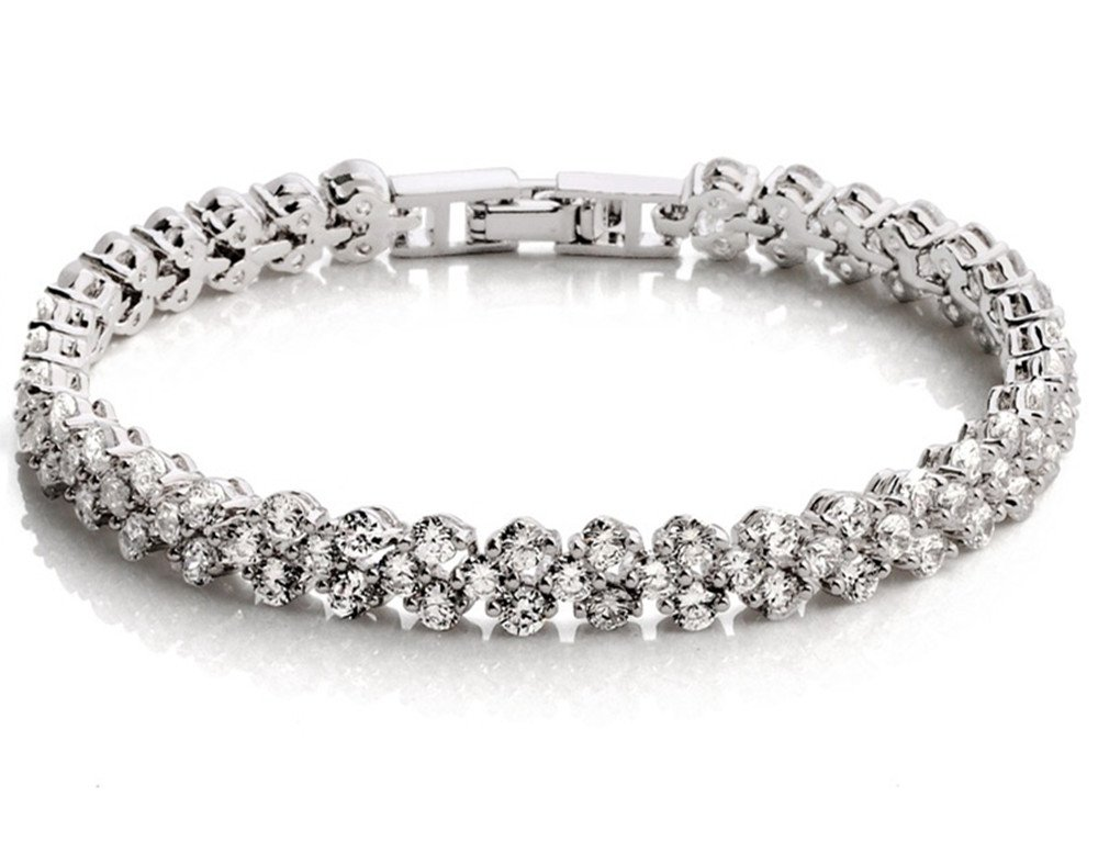 "Dazzle flash Women's White Gold Plated Austrian Crystal Elements Tennis Bracelet,Wedding Jewelry For Womens -bcw041 (6.64"")"