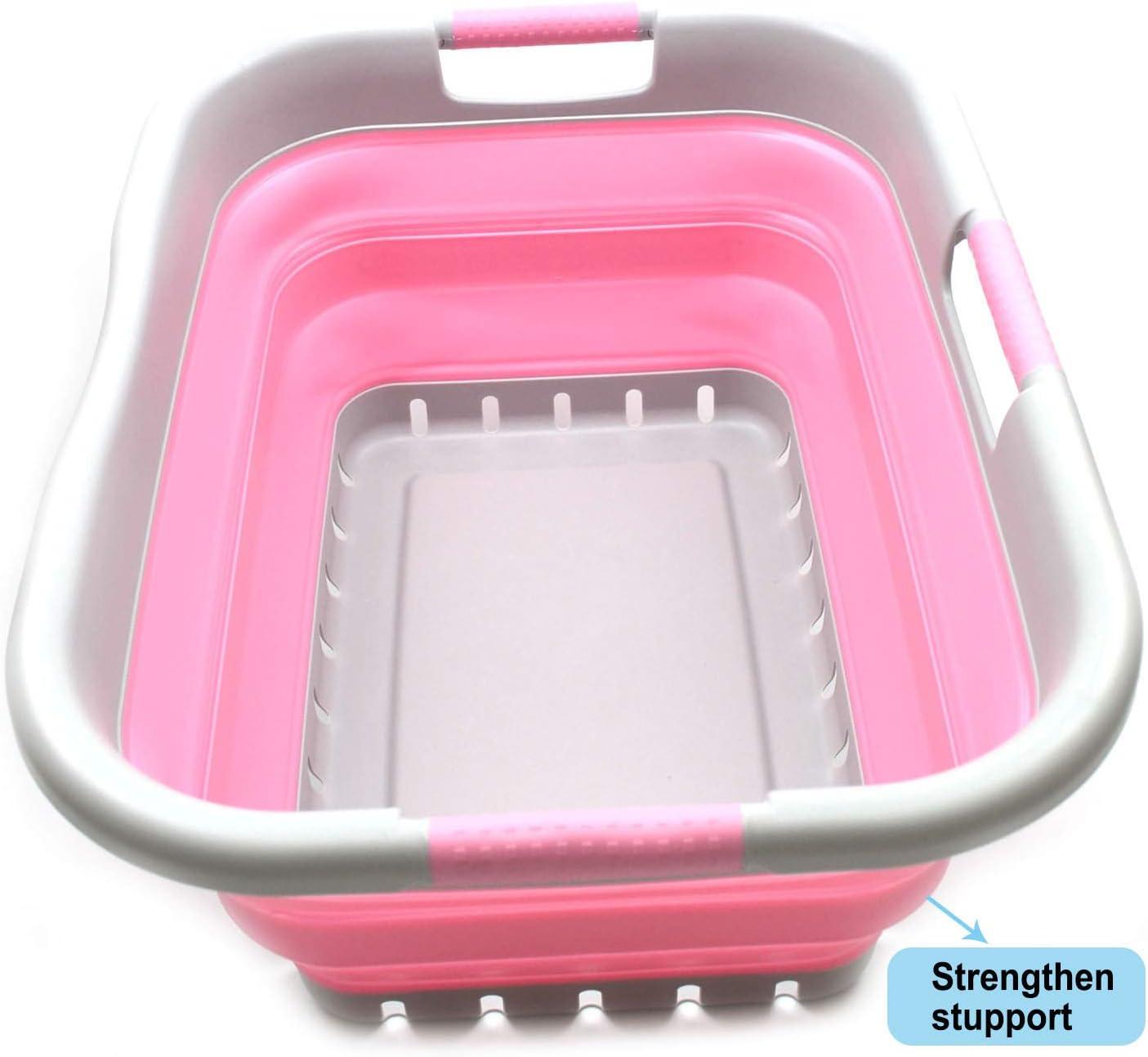 SAMMART Collapsible 3 Handled Plastic Laundry Basket - Foldable Pop Up Storage Container/Organizer - Portable Washing Tub - Space Saving Hamper/Basket (3 Handled Rectangular, Grey/Pink)