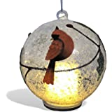 Cardinal Christmas Ornament - Light Up Glass Ball Ornament Cardinal Design - White Snow and Glitter Inside