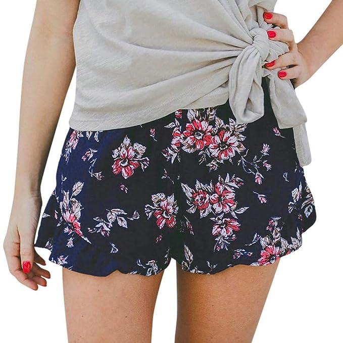 Shorts Pants Kurze Frauen Sommer Blumenmustern Luckycat Hot Lässige P0O8NwnkX