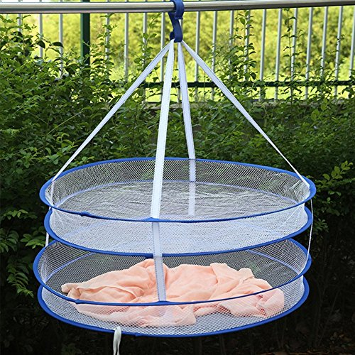 Windproof Hanging Clothes Basket, Double Layer Folded Mesh C