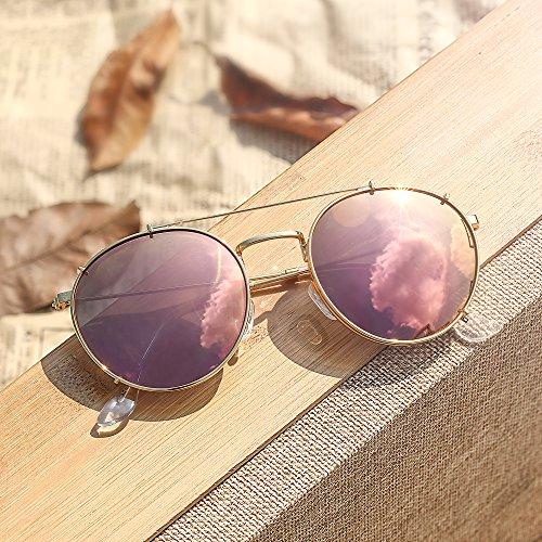 Espejo de Hombre Clip en Rosado Planas Polarizadas Mujer Dorado Redondas Sol de Espejo Anteojos Gafas Retro pwBd1fdq