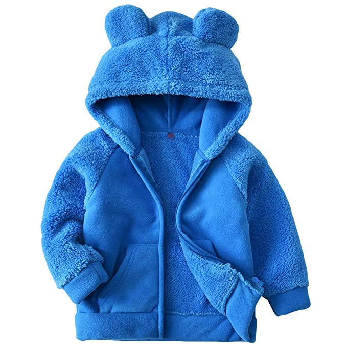 Baby Boys Full Zip Front Warm Hooded Sweatshirt Hoodie Deep Cobalt Blue Infant