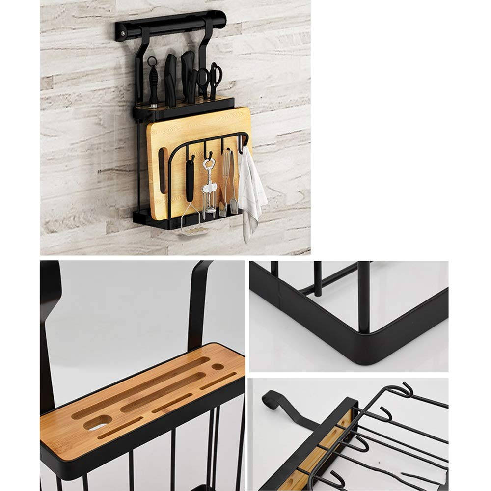 HUO Punch-Free Kitchen Racks Wall-Mounted Folding Dish Rack Knife Holder Seasoning Storage Rack Combination Multifunction (Color : B) by Kitchen shelf (Image #2)