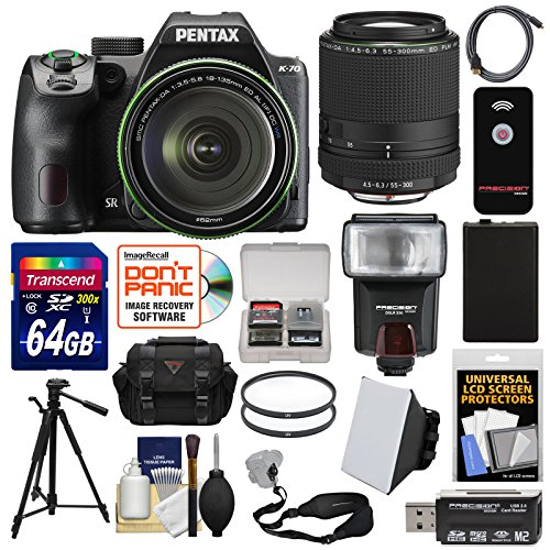 Pentax K-70 All Weather Wi-Fi Digital SLR Camera & 18-135mm WR Lens (Black) with 55-300mm Lens + 64GB Card + Case + Flash + Battery + Tripod + Kit (Pentax Cables Digital)