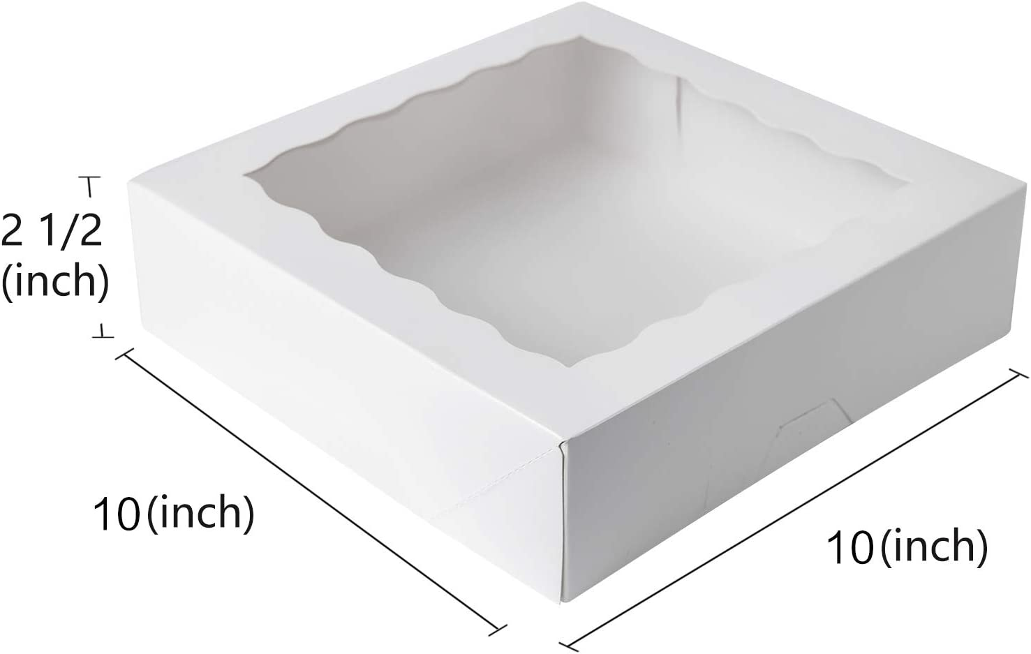 ONE MORE 10inch White Natural Kraft Bakery Pie Boxes with PVC Windows,Large Cookie Box 10x10x2.5inch 12 of Pack