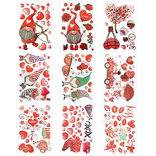 Larber 152 pegatinas de corazón para ventana, día de San Valentín, decoración de ventana, para niños, escuela, hogar…