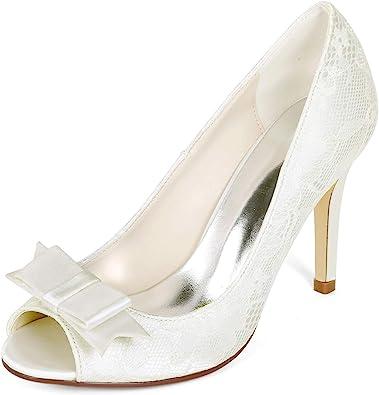 Lace Wedding Shoes Formal Bridal Bridemaid Flat High Low Kitten Heels