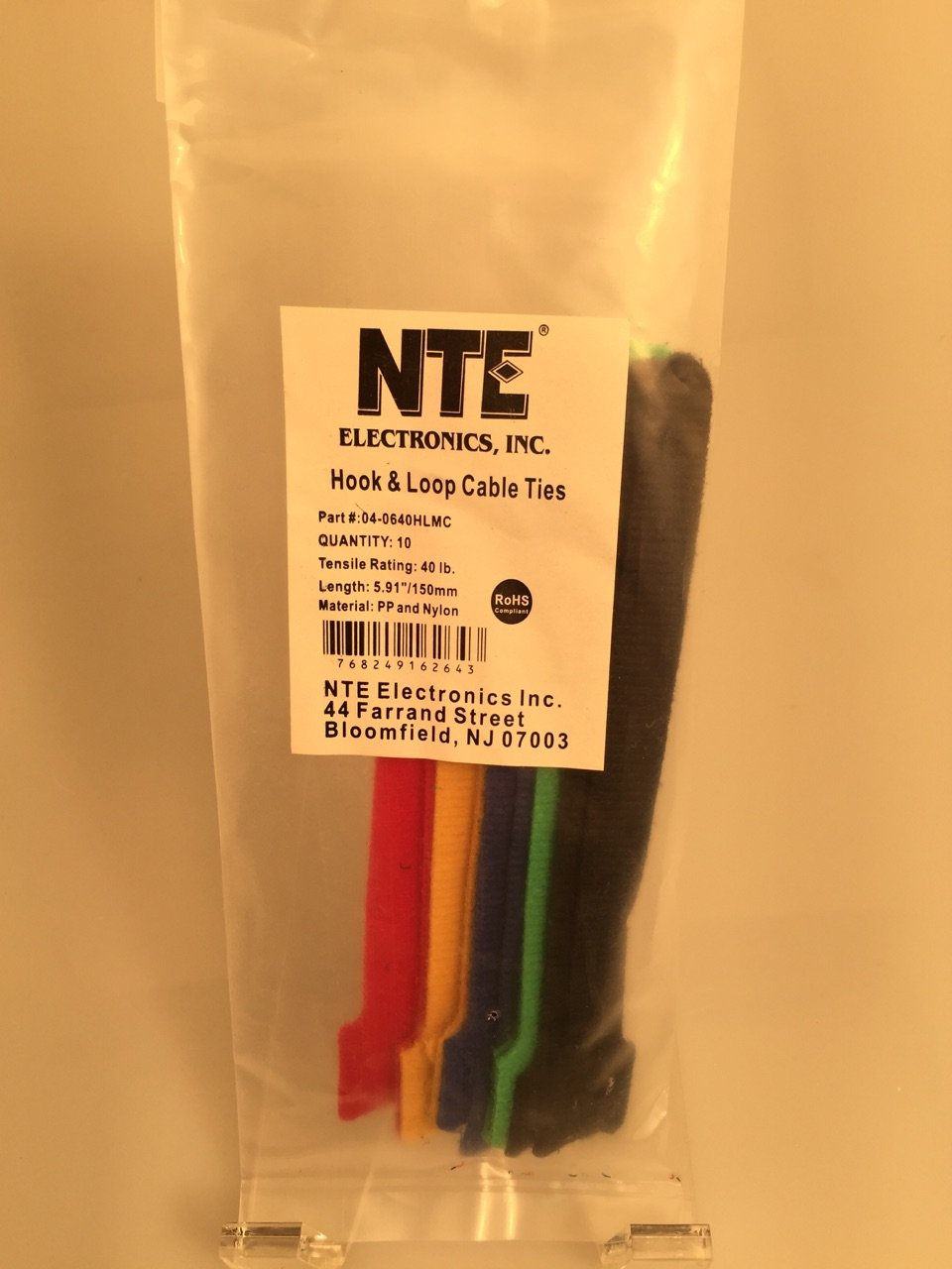 5.91 Length 40 lb NTE Electronics 04-0640HL5 Nylon//Polypropylene Hook and Loop Cable Ties 0.470 Width Green Pack of 10 Tensile Strength 5.91 Length 0.470 Width Inc.
