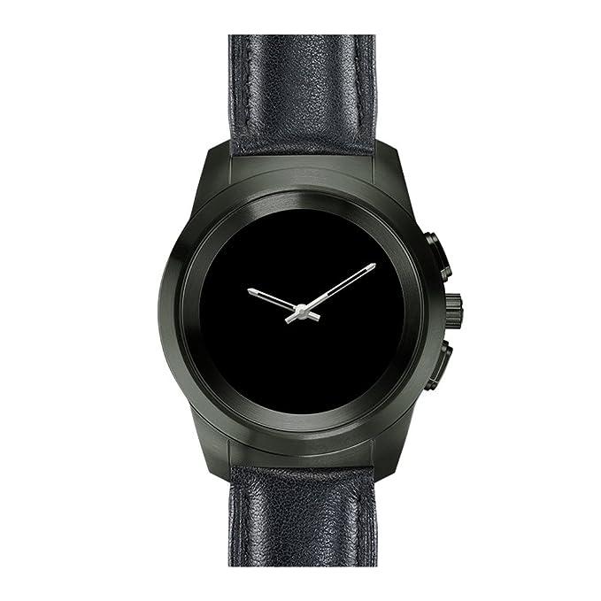 MyKronoz ZeTime Premium Reloj Inteligente híbrido 39mm con Agujas mecánicas sobre una Pantalla a Color táctil – Petite Cepillado Negro/Cuero Negro en ...