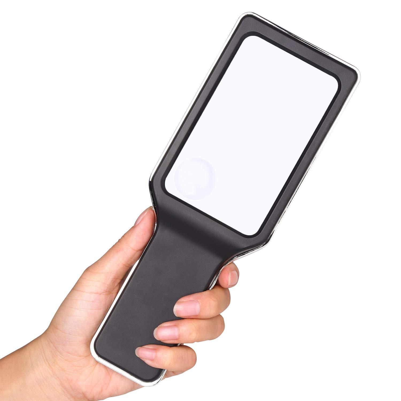 Illuminazione Lente dIngrandimento 25x e 55x ingrandimenti HIMRY Lente di ingrandimento Mano Progettato con Luce LED Nero KXD3021-black Lente Multi-Funzione con 2.5X