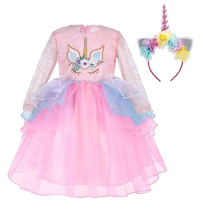 689204bdc8 IWEMEK Kids Toddler Girls Princess Unicorn Birthday Lace Dress Long Sleeve Tulle  Tutu Dress Wedding Halloween Christmas Party Pageant Carnival Cosplay ...