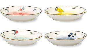 MDZF SWEET HOME 8-Inch Deep Porcelain Dinner Plates Set Pizza Pasta Serving Plates Salad Dessert Dishes Tableware, Set of 4
