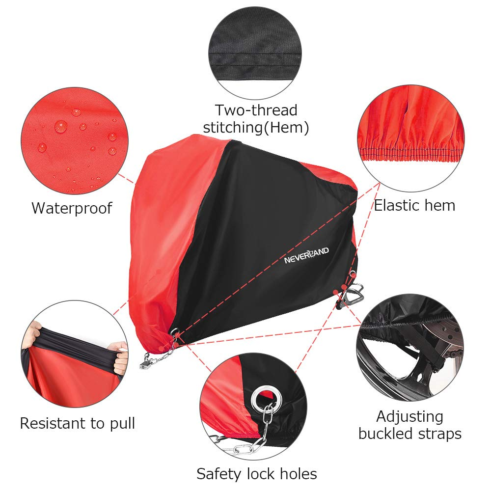 Motorbike Cover Heavy Duty Motorcycle Cover NOVSIGHT 210D Oxford Fabric Waterproof Rain Dust UV Protective Storage Indoor /& Outdoor 2000Pa Resistant XL 245 * 105 * 125cm//96.4 * 41.3 * 49.2inch
