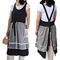 Cute Cotton Cross Back Lace Aprons Mesh Puffy Coverall Wedding Dress Comfort Pioneer Pinafore