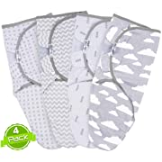 Swaddle Blanket Set, Adjustable Infant Baby Wrap Set of 4, Baby Swaddling Wrap Blankets Made in Soft Cotton, by BaeBae Goods