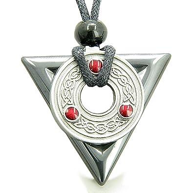 Amazon amulet triangle protection celtic triquetra hematite amulet triangle protection celtic triquetra hematite pendant necklace aloadofball Images