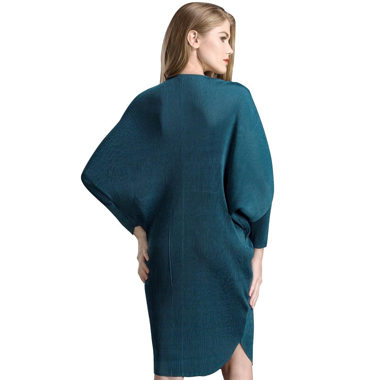 Dussi Autumn New Falling Bat Sleeve Show Thin Women's Dress Female