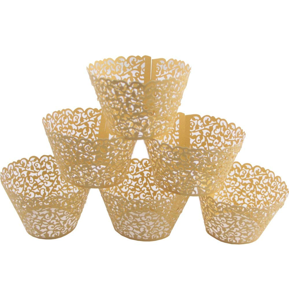 Mydio Set of 100 Cupcake Wrappers Wedding Birthday Decorations, Gold