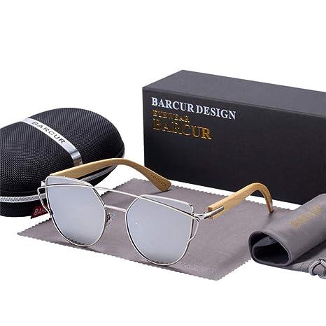 Yangjing-hl Gafas de Sol de Ojo de Gato de bambú Marco de ...