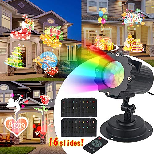 LED Light Projector Waterproof Dynamic Adjustable Projection Coverage Projection Light with 16 Different Light Scenes for Birthday and Party Decoration -