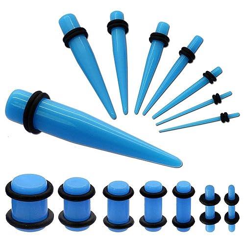 tumundo Set de 16 Piezas Expansor Túnel para Oreja Tunnel Plug Piercing y 1 Set Dilatador Taper 1,6-10 mm Turquesa: Amazon.es: Joyería