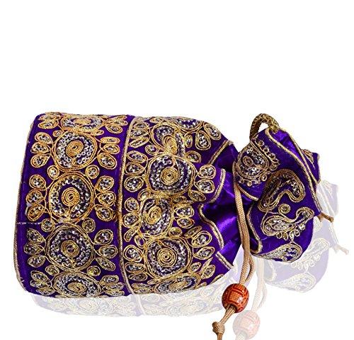 Embroidery Potli Purple Thread Purse Bag Work Gold Clutch amp; Women Intricate Purpledip For Sequin Drawstring With OdqTTU
