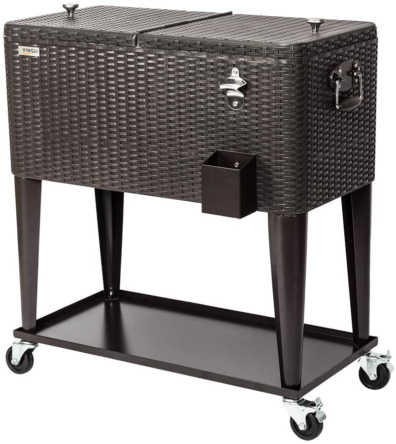 Portable Wicker Faux Rattan Tub Trolley with Wheels Shelf /& Bottle Opener Brown for Patio Pool Party Kenwell 80 Quart Rolling Outdoor Patio Cooler Cart on Wheels