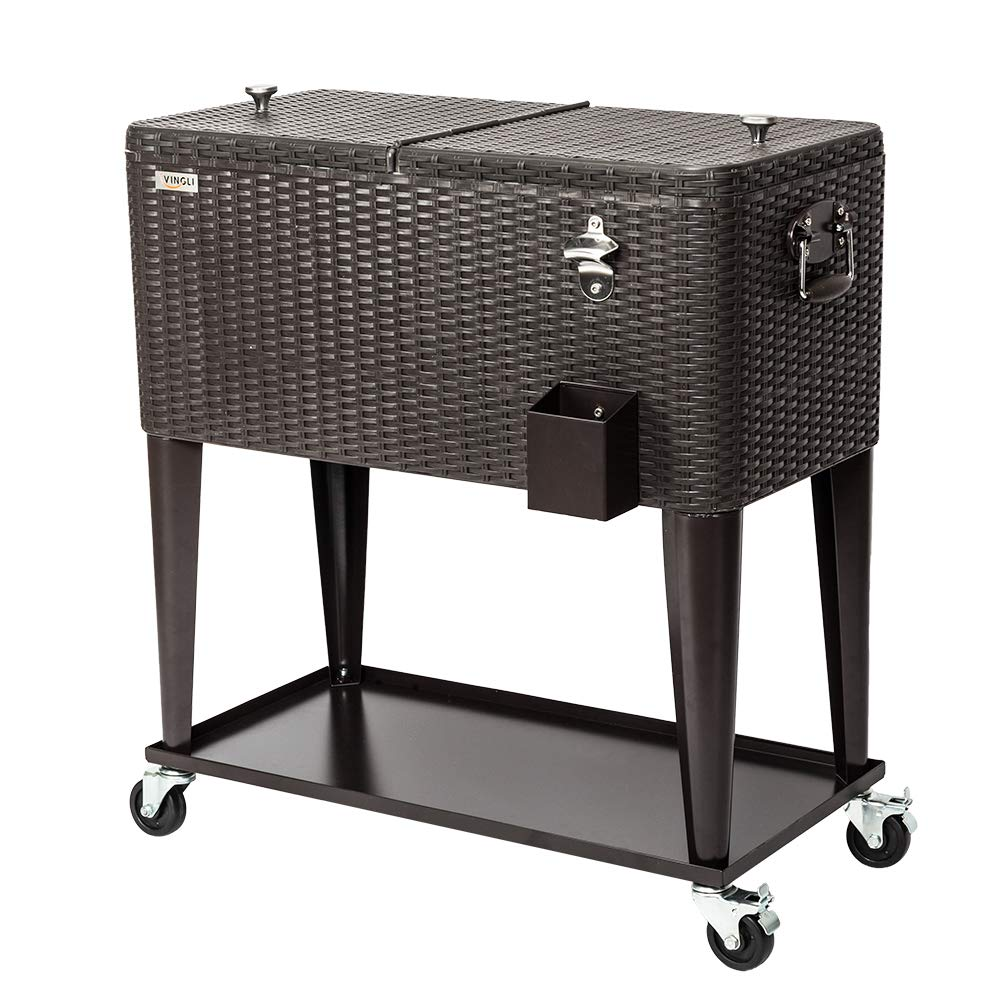 VINGLI 80 Quart Rolling Ice Chest on Wheels, Portable Patio Party Bar Drink Cooler Cart, with Shelf, Beverage Pool with Bottle Opener,Water Pipe and Cover (Rattan) by VINGLI