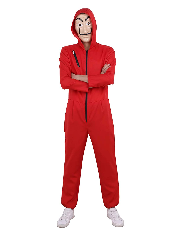 Tiaobug Herren Damen Overall Jumpsuit Kostüm mit Maske Das Haus des Geldes Bankräuber Kostüm Set für Männer Frauen Halloween Verkleidung Cosplay Karneval
